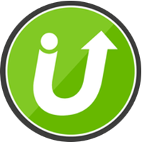Two tone neon green circular logo with letter u with dot on the left side and formed into arrowhead on the right branch